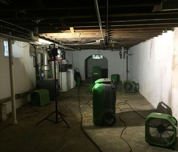 block basement with drying equipment