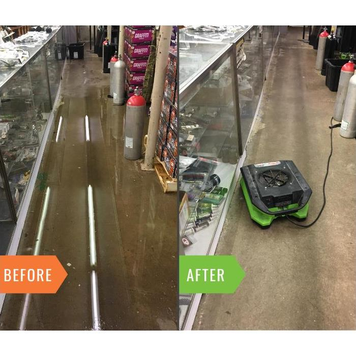 before & after of a water leak in a warehouse in Flemington. Standing water, then no water.