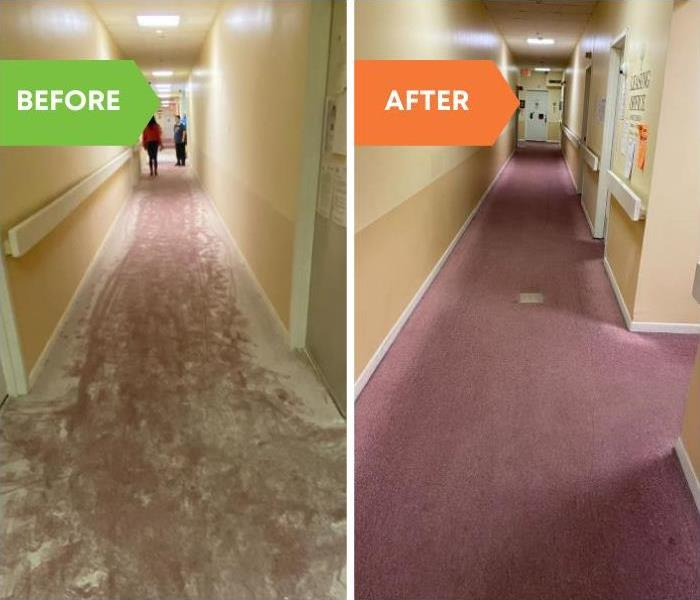 before and after of cleaning a red carpet with white fire extinguisher powder on it after being cleaned.